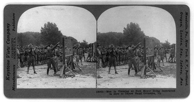 Men in training at Fort Meyer [sic], being instructed in how to throw hand grenades, Va.