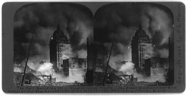 San Francisco Earthquake and Fire, 1906: The Call Building in a maelstrom of flame