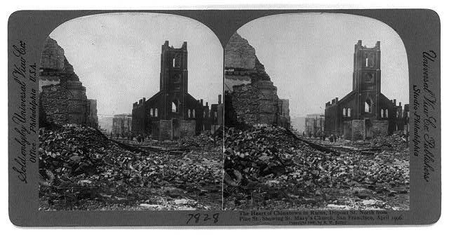 San Francisco Earthquake & Fire, Apr. 1906: The heart of Chinatown in ruins, Dupont St., north from Pine St., showing St. Mary's Church