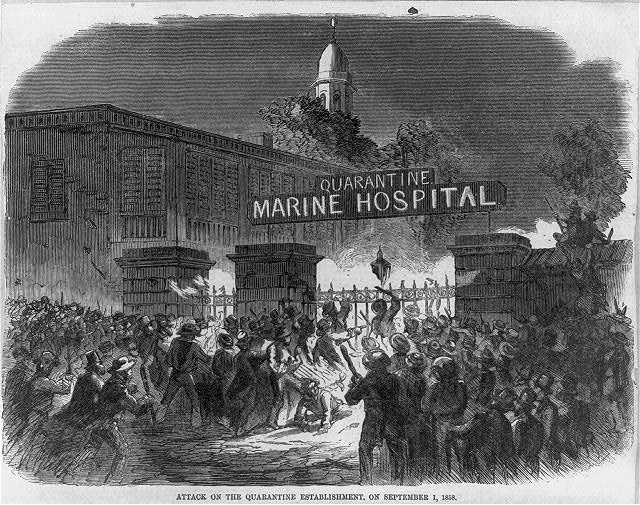 Attack on the Quarantine establishment [Staten Island, N.Y.] on September 1, 1858