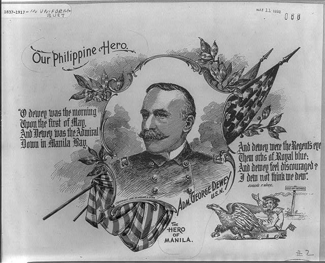 [Adm. George Dewey, head-and-shoulders portrait, facing left, in uniform, with patriotic border of U.S. flag, poem by Eugene F. Ware, and vignette of eagle pulling warship]