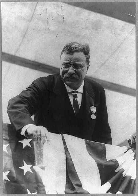 [Theodore Roosevelt, leaning over flag-draped railing]