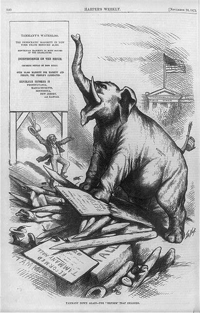 "[Cartoon relating to Republican defeat of Tammany Hall candidates in 1875 elections: ""Tammany's Waterloo"" trumpeting elephant standing on crushed remnants of ""Reformed Tammany Hall""]"