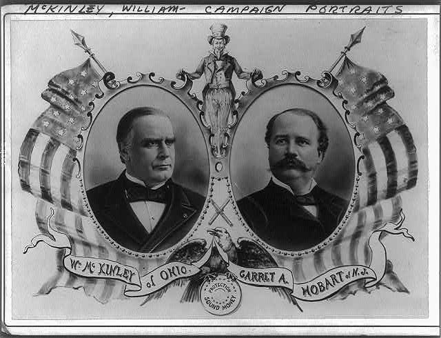[William McKinley, head and shoulders portrait, and Garret A. Hobart, head and shoulders portrait, facing left; in ovals bordered with U.S. flags, Uncle Sam between]