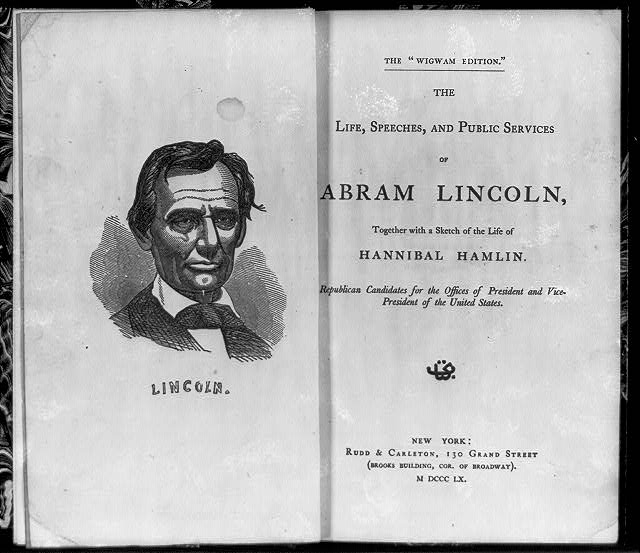 [Bust portrait of Abraham Lincoln and title page]