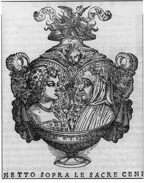 First fol. (reverse) after title page (vase with portraits of Petrarch and Laura)