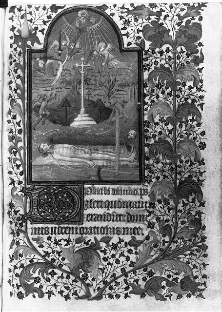 Miniature, leaf (4) recto - showing God, angels and graveyard above corpse on pall, in Horae (Paris use). Written ca. 1425