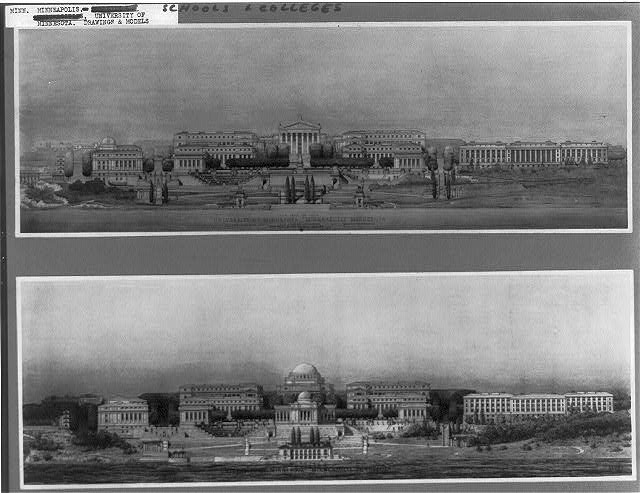University of Minnesota. Drawings of proposed scheme. View from the South. Cass Gilbert, arch.