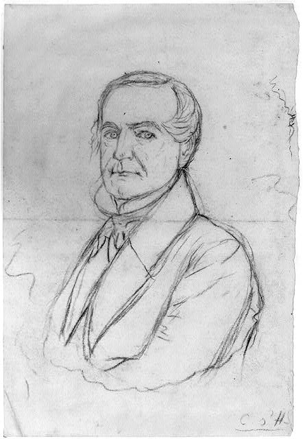 [Sketch portrait of a man. Reclining figures on reverse]