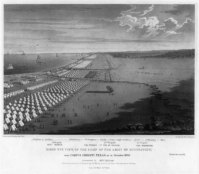 "Birds-eye view, of the camp of the ""Army of Occupation,"" near Corpus Christi, Texas as in October 1845"