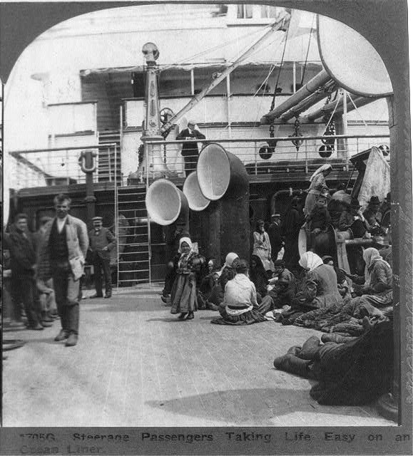Steerage Passengers Taking Life Easy on an Ocean Liner
