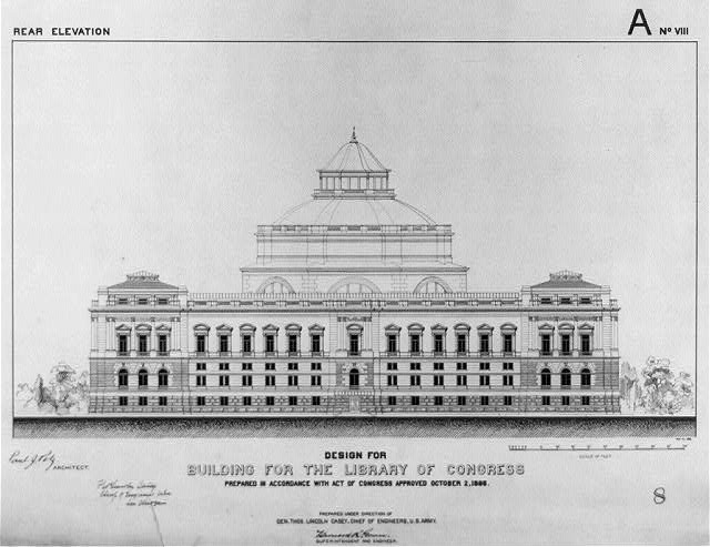 [Library of Congress, Washington, D.C. Rear elevation, A series]