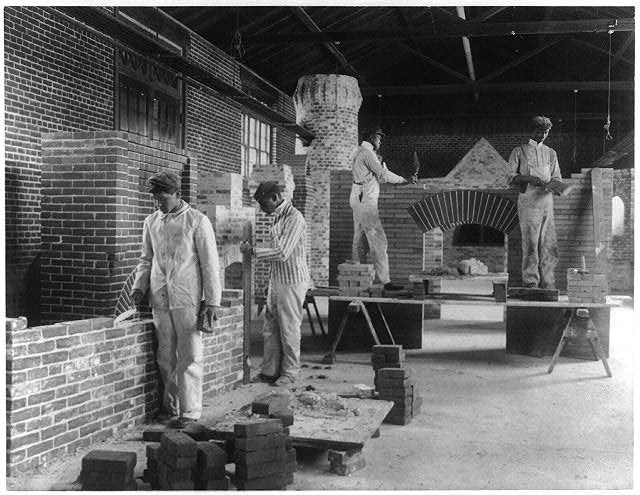 [Students in a bricklaying class, Hampton Institute, Hampton, Virginia]