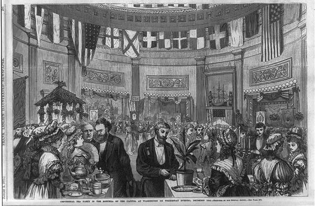 Centennial Tea Party in Rotunda of U.S. Capitol, Washington, Wednesday evening, Dec. 16, 1875