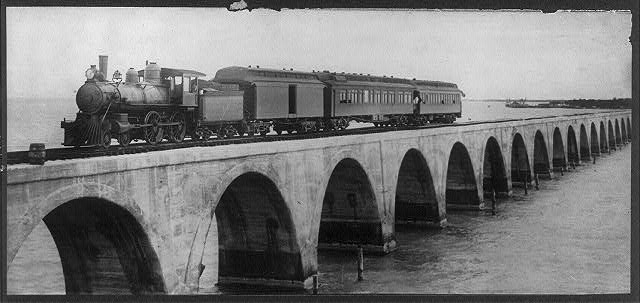 H.M. Flagler's Special, first train crossing Long Key Viaduct, 2.7 miles long, Long Key, Fla.