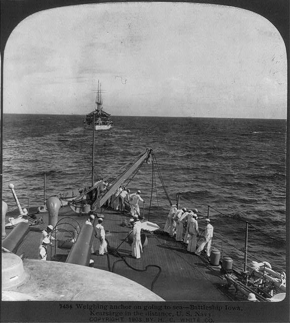 Weighing anchor on going to sea, Battleship IOWA, KEARSARGE in the distance, U.S. Navy