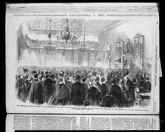 The Presidential Journey - reception of the President in the hall of the Legislature of Columbus, Ohio- the Senate and Legislature in joint session