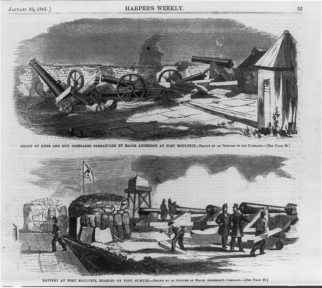 [Two views: Group of guns and gun carriages dismantled by Major Anderson at Fort Moultire; Battery at Fort Moultrie, bearing on Fort Sumter]