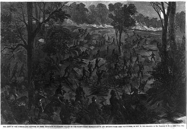 The Army of the Cumberland - capture of Rebel rifle-pits in Lookout Valley by the thirty-Third Massachusetts and Seventy-Third ohio Volunteers
