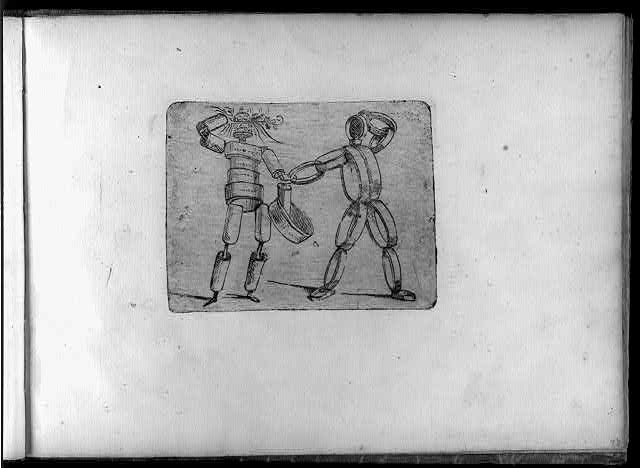 [Figures containing knife grinder, bell ringer]