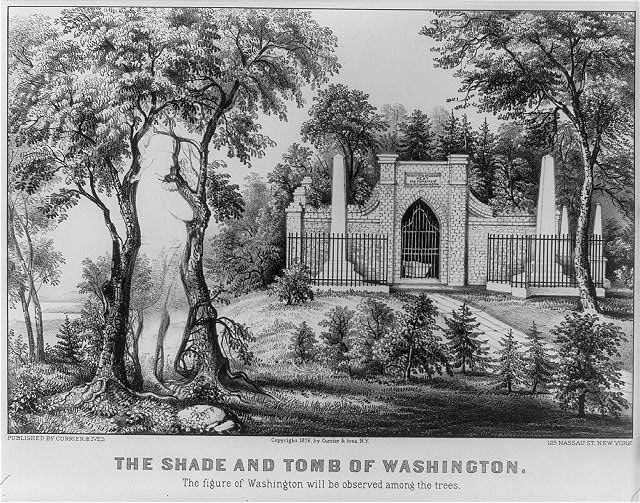 The shade and tomb of Washington: the figure of Washington will be observed among the trees