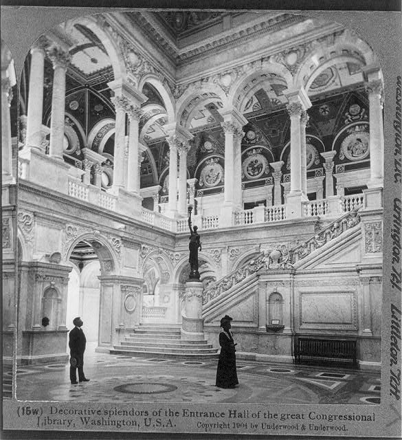 Decorative splendors of the Entrance Hall of the great Congressional Library, Washington