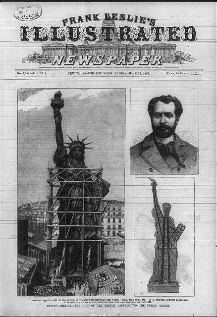 "3 illus.: 1. Official presentation of the Statue of ""Liberty enlightening the world,"" Paris, July 4th, 1884 - 2. M. Frédéric-Auguste Bartholdi [head and shoulders] - 3. Sectional view of statue, showing iron core and braces"