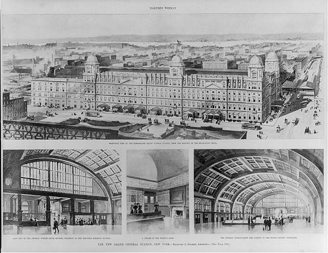 The New Grand Central Station, New York, Bradford L. Gilbert, Architect: 1. Bird's-eye view of the remodeled Grand Central Station, from the balcony of the Manhattan Hotel; 2. East end of the general waiting-room, ...; 3. A corner in the women's room; 4. The general waiting room...