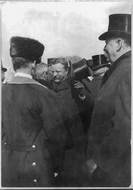 Roosevelt receiving congratulations from diplomats