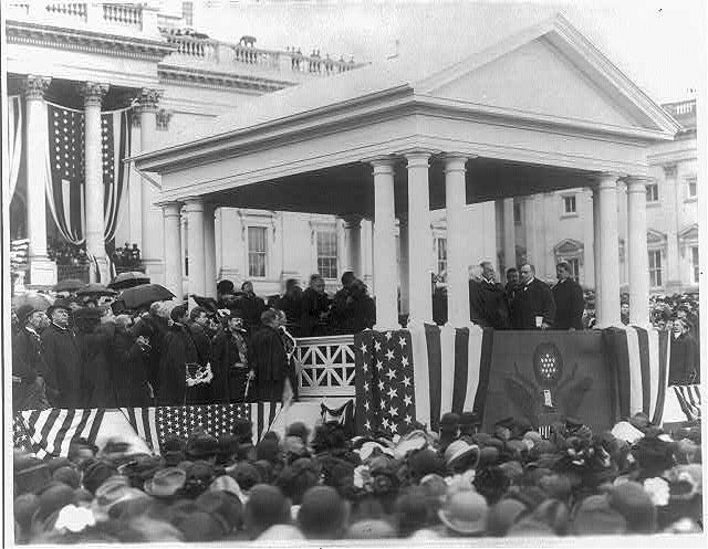 [William McKinley, Pres. U.S., taking Oath of Office; half-length, standing, facing left]