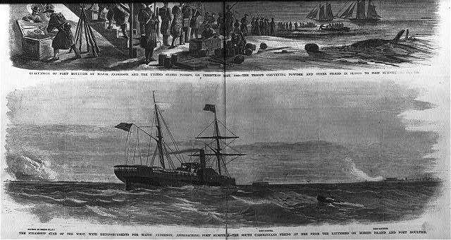 The steamship Star of the West, with reinforcements for Major Anderson, approaching Fort Sumter - The South Carolinians firing at her from the batteries on Morris Island and Fort Moultrie