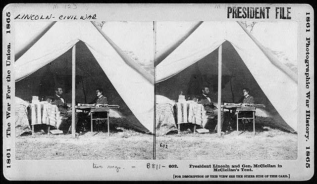President Lincoln and Gen. McClellan in McClellan's Tent
