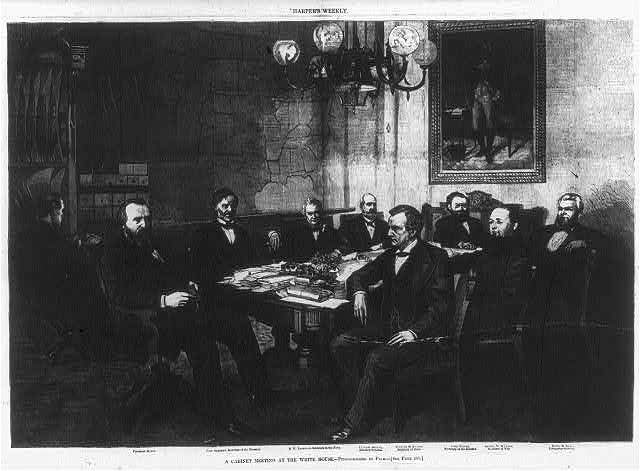 A cabinet meeting at the White House- Pres. Hayes, John Sherman [Secy. of the Treasury], R.W. Thompson [Secy. of the Navy], Charles Devens [Atty. Gen.], William Evarts [Secy. of State], Carl Schurz [Secy. of Interior], George McCrary [Secy. of War] and David Key [Postmaster Gen.]