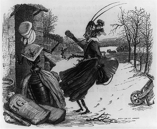 "[Illus. of fable ""The ant and the grasshopper,"" showing two insects dressed as women, one holding a guitar]"