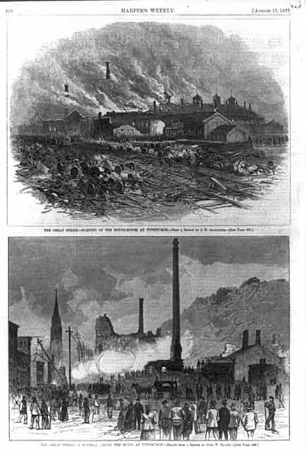 The Great [railroad] Strike [Pittsburgh, Pa. 1877]: Burning of the Round-house at Pittsburgh; A funeral among the ruins... [2 scenes (single page)]