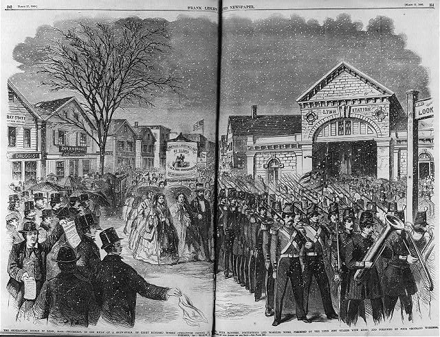 The sheomakers' strike in Lynn, Mass. - procession, in the midst of a snow storm, of eight hundred women operatives joining the strike..., preceded by the Lynn City Guards with music, and followed by four thousand workmen
