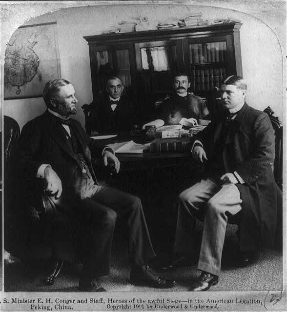 U.S. Minister E.H. Conger and staff, heroes of the awful siege - in the American Legation, Peking, China