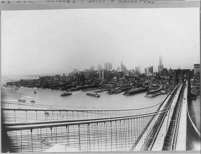 Brooklyn Bridge and skyline of New York City