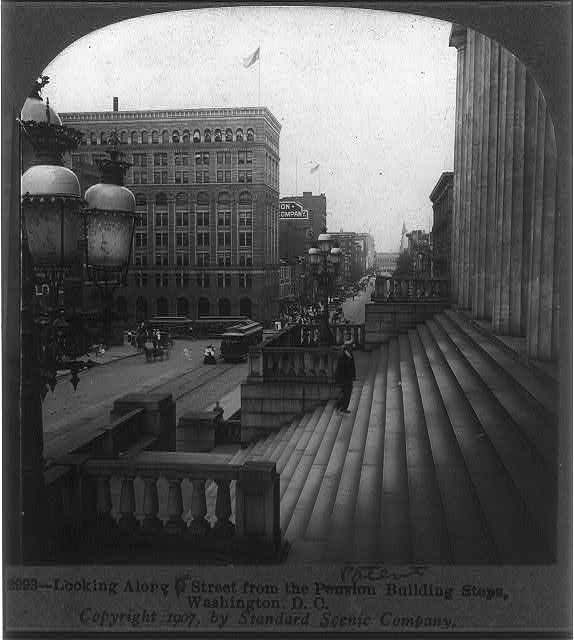 Looking along F Street [past] the Patent Building steps, Washington, D.C.