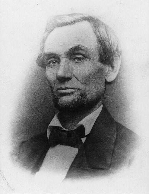 [Abraham Lincoln, bust portrait, facing left; first photo to show his beard]