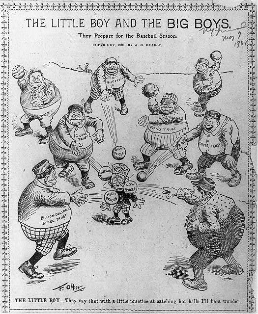 [Anti-trust cartoons]: The little boy [Common People] and the big boys [Trusts] prepare for the baseball season