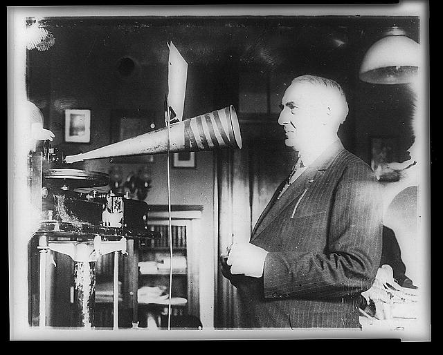 President Harding's voice has been preserved in phonograph records in the government archives