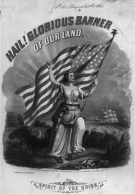 Hail! Glorious banner of our land. Spirit of the Union