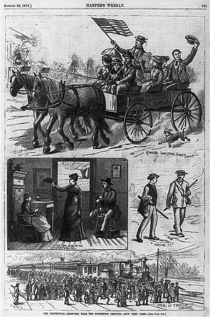 The Centennial [4 scenes]: 1. A wagon load from Jersey [group of people in horse-drawn wagon]; 2. On the farm, going to the centennial for a day [man and 2 women in farmhouse]; 3. Footing it [2 men walking]; 4. Arrival of train on the grounds