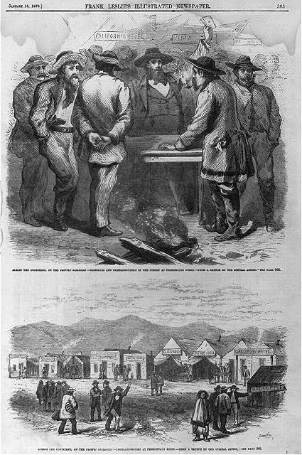 [2 illus.]: 1. Across the continent, on the Pacific Railroad - gamblers and gambling-table in the street at Promontory Point; 2. Across the continent, on the Pacific Railroad - gambling houses at Promontory Point