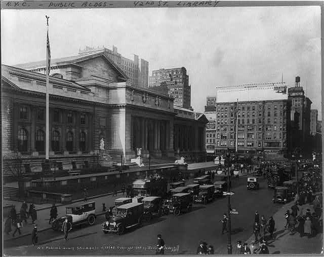 [New York City Public Library, 5th Ave. & 40th St. Crowded street scene in foreground]