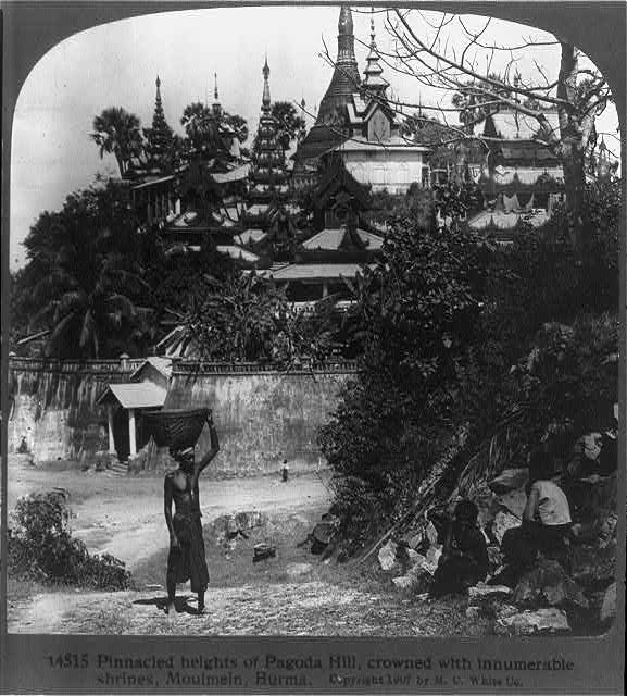 Pinnacled heights of Pagoda hill, crowned with innumerable shrines, Moulmein, Burma