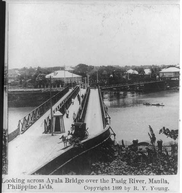 Looking across Ayala Bridge over the Pasig River, Manila, Philippine Is'ds.