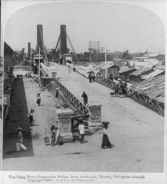 "[Manila, P.I., 1899: ""Pasig River suspension bridge, from north""]"