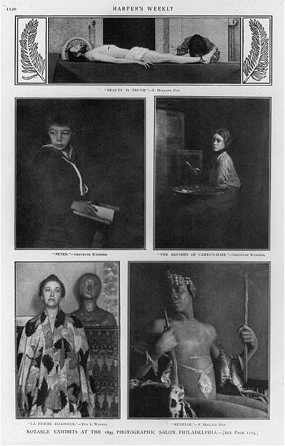 "Notable exhibits at the 1899 Photographic Salon, Philadelphia [5 photoprints: ""Beauty is Truth"" by F. Holland Day; ""Peter"" by Gertrude Kasebier; ""The Brushes of Camel's Hair"" by Gertrude Kasebier; ""La Femme Inconnue"" by Eva L. Watson; ""Menelik"" by F. Holland Day]"